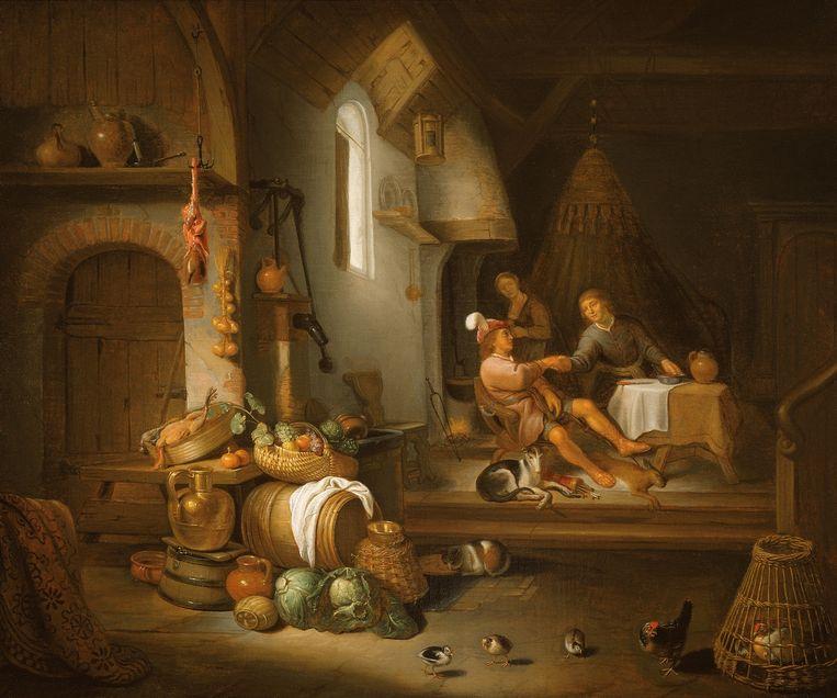 Interieur met Jacob en Esau (1662/olieverf op doek/formaat 79x97 cm/Hoosteder & Hoogsteder, Den Haag) Beeld Hendrick Martensz. Sorgh
