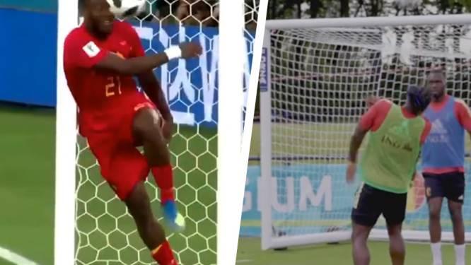 Hilarische déjà vu: Batshuayi krijgt - net als op WK in Rusland - bal vol in aangezicht, maar nu is hij niét zelf de schuldige