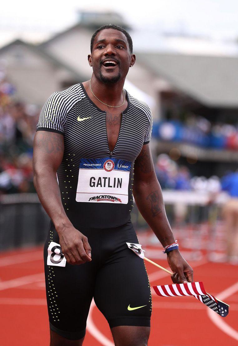 Amerikaan Justin Gatlin werd twee keer op doping betrapt, maar mag wel meedoen aan de Olympische Spelen. Beeld afp