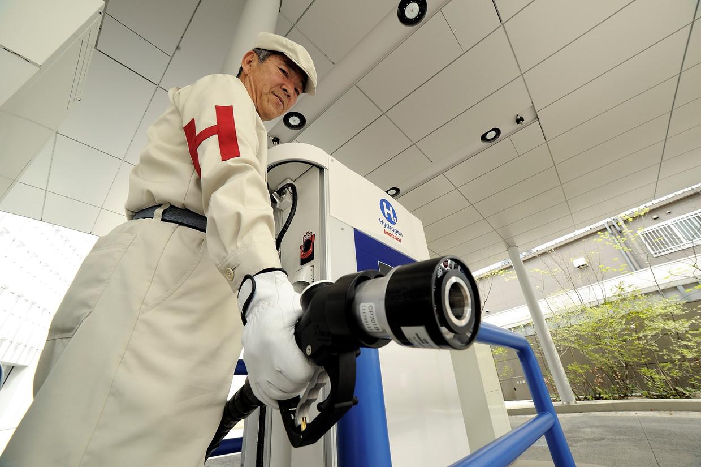 Een waterstoftankstation van Toyota in Tokio.