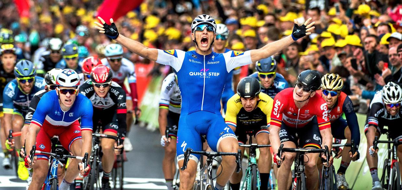 Marcel Kittel wint in 2017 een Touretappe in Luik, een triomf na zijn sabbatical. Beeld Klaas Jan van der Weij / de Volkskrant