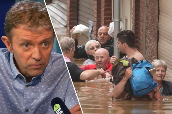 In Luik worden bewoners geëvacueerd. In deze straat stond deze voormiddag het water op borsthoogte.