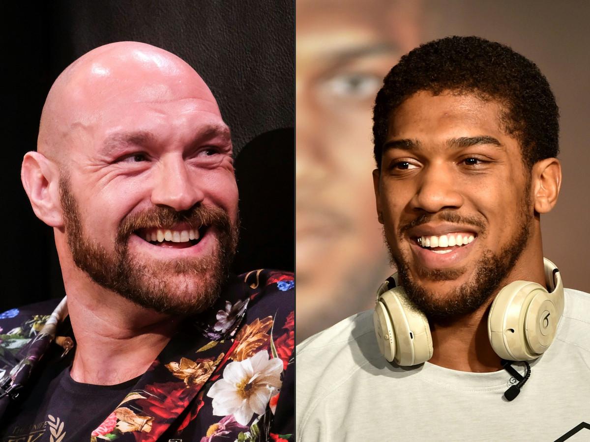 Tyson Fury (L) en Anthony Joshua (R)