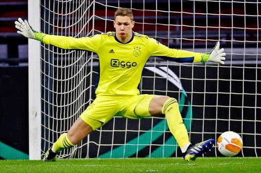 Ajax-AS Roma;  Keeper Kjell Scherpen maakt zich groot Foto ; Pim Ras