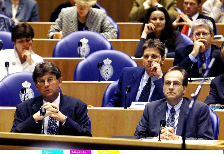 1998, de oude en de nieuwe PvdA-fractievoorzitter, Jacques Wallage en Ad Melkert Beeld ANP