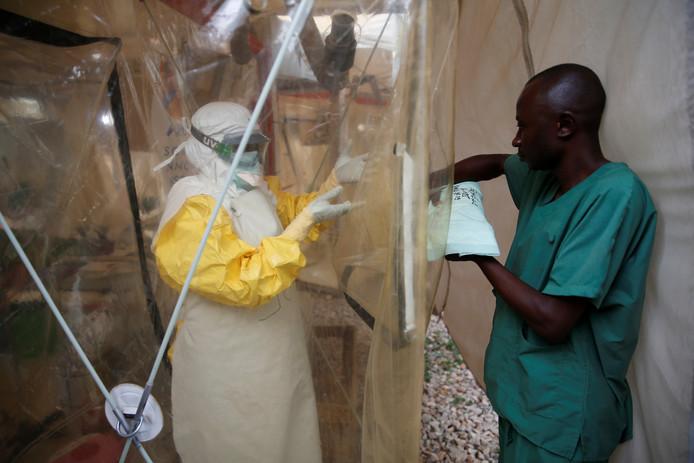 Een Ebola-behandelcentrum in Beni.