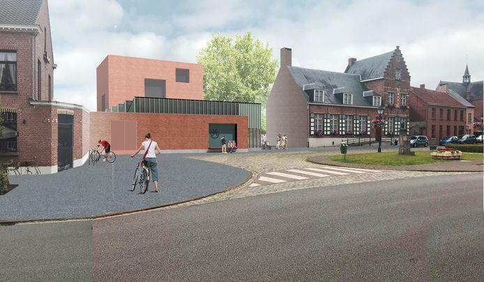 Zo zal het nieuwe vrijetijdscentrum in de Amelbergastraat in Zandhoven eruitzien.