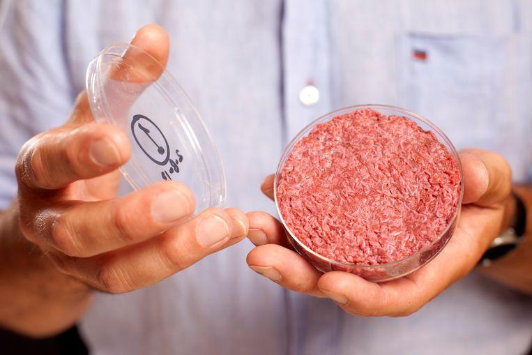 De eerste gekweekte hamburger werd in 2013 gepresenteerd door Mark Post. Hij richtte later Meatables-concurrent Mosa Meat op.  Beeld Hollandse Hoogte / Camera Press Ltd