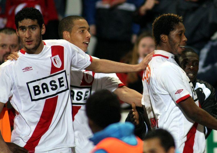 Fellaini (l) met Witsel en Mbokani bij Standard in 2008.