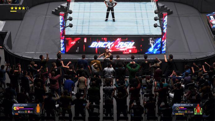 Een gevecht buiten de ring. Waar zijn de worstelaars?