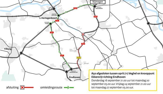 Afbeelding van de wegafsluiting vanaf oprit (11) A50 Veghel - knooppunt Ekkersrijt en omleidingsroute via Den Bosch