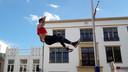 Eelco Sintnicolaas tijdens een van zijn demonstratiesprongen.