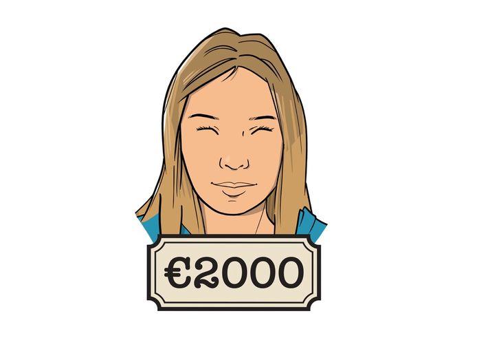 Eline werkt als assistent-controller voor 32 uur in de week en verdient daar 2400 euro bruto mee.