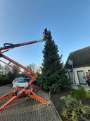 De negen kleinkinderen van Piet en Trees Franssens lieten een hoogwerker komen om een boom te versieren.
