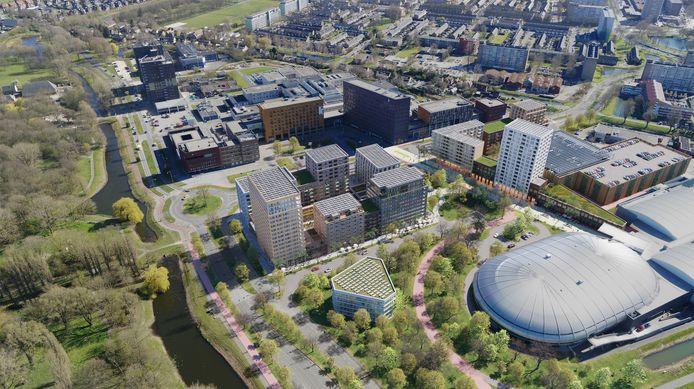 Impressie van de 720 geplande woningen op het huidige parkeerterrein met boven in beeld het ziekenhuis en rechts de uitgebreide parkeergarage.