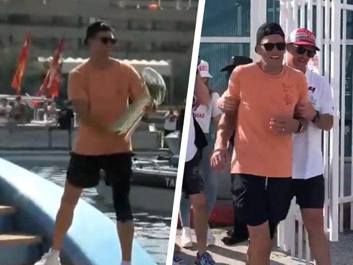 Tom Brady gooide eerste de Super Bowl-trofee van de ene naar de andere boot en werd nadien ondersteund weggeleid van het feest.
