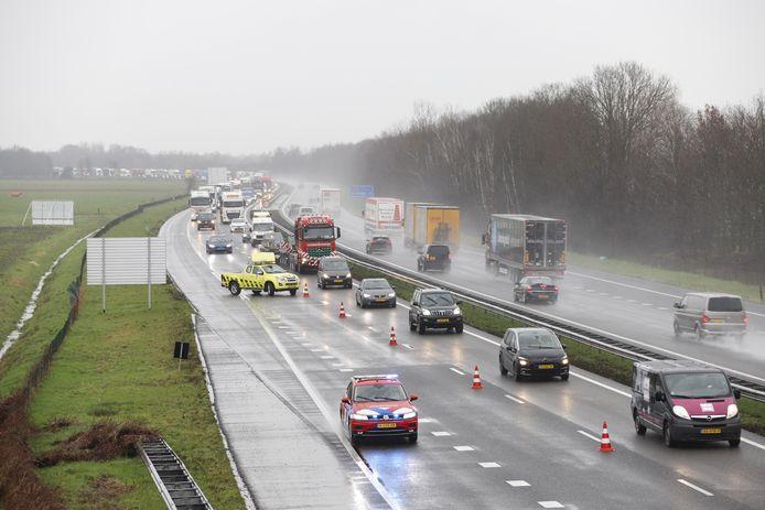 Het eerste incident woensdag op de A73, aan het begin van de middag bij afrit Vierlingsbeek.