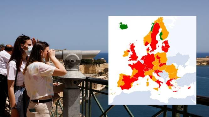 Steeds meer oranje regio's op de kaart met reisbestemmingen, Malta kleurt groen