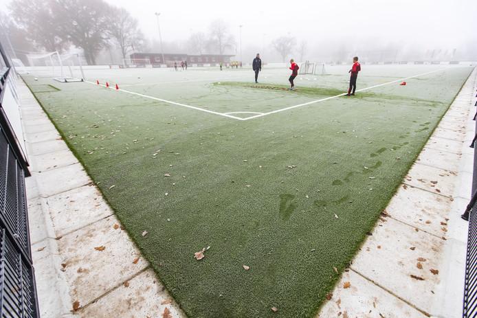Het voorlopig laatst aangelegde nieuwe kunstgrasveld op sportpark Diekman, waar de jeugdige talenten van FC Twente dagelijks trainen.