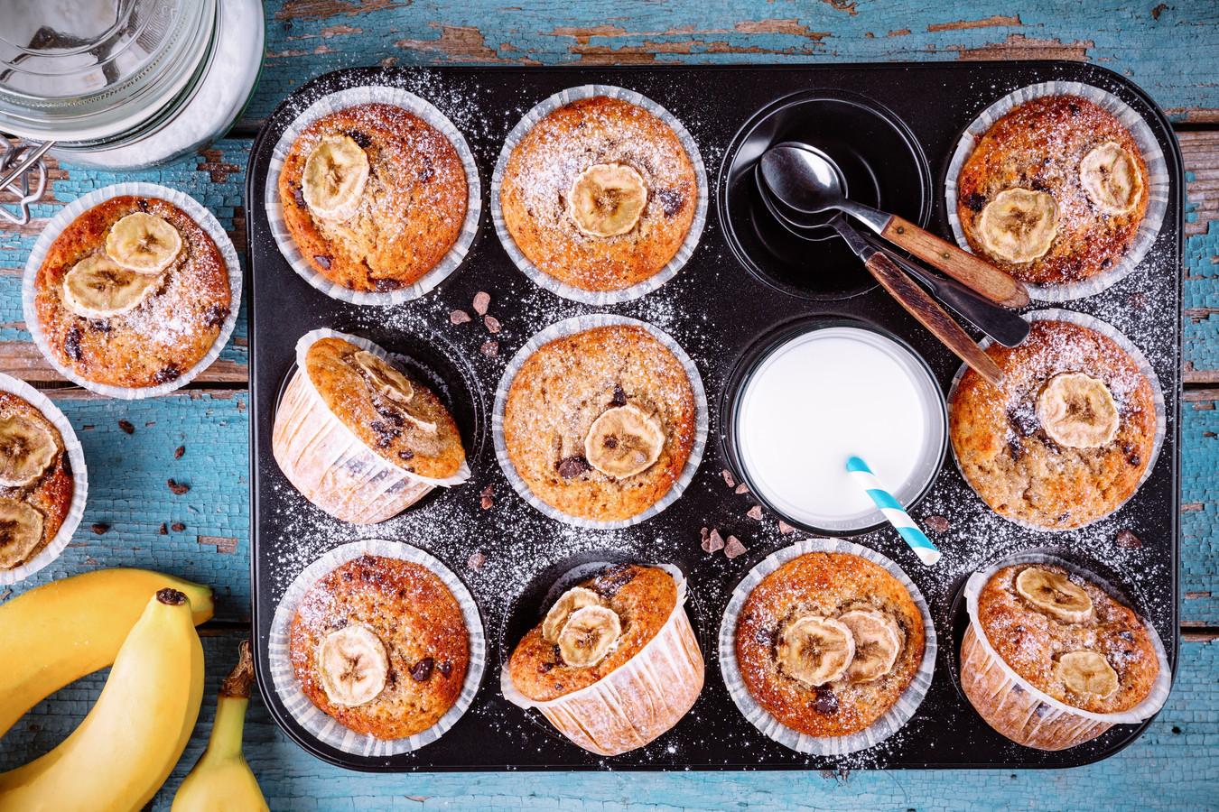 Muffins met banaan.