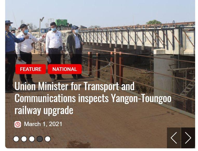 De minister voor Transport en Communicatie van Myanmar inspecteert de verbeterde Yangon-Toungoo-spoorweg Beeld