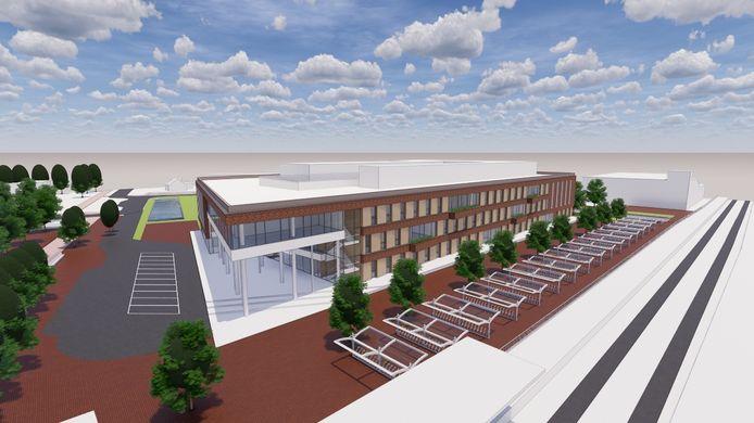 Impressie van het nieuwe Rijnstate ziekenhuis in Elst. Rechts de spoorlijn.