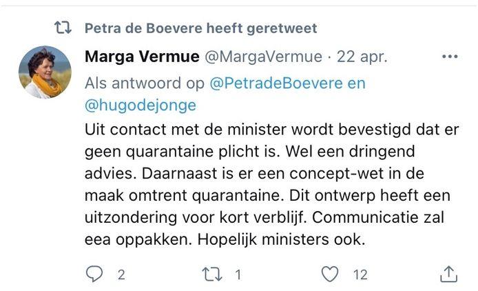 De burgemeester van Sluis laat op Twitter verstaan dat er geen quarantaineverplichting is.