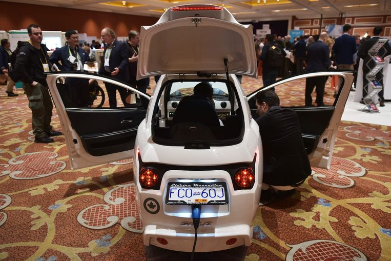 An Electra Meccanica SOLO is seen at the ShowStopper exhibition on the sidelines of CES 2018 in Las Vegas on January 9, 2018. T he single seat electric vehicle has a top speed of 137 MPH and and range of 100 miles. / AFP PHOTO / MANDEL NGAN Beeld AFP