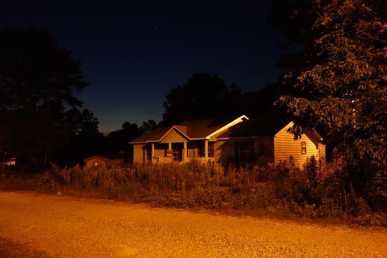 327 Green Grove Road, waar Jones opgehangen werd gevonden, na een ruzie met zijn witte vriendin. Beeld Micael Persson