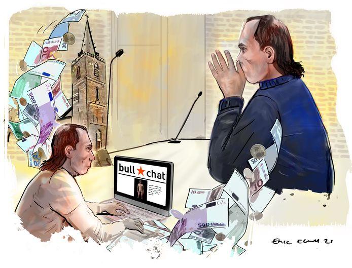 In de ogen van het OM dreigde verdachte R. keer op keer om gevoerde chatgesprekken van het slachtoffer op Bullchat samen met de naaktafbeeldingen te openbaren, tenzij de 60-jarige gelovige snel betaalde.