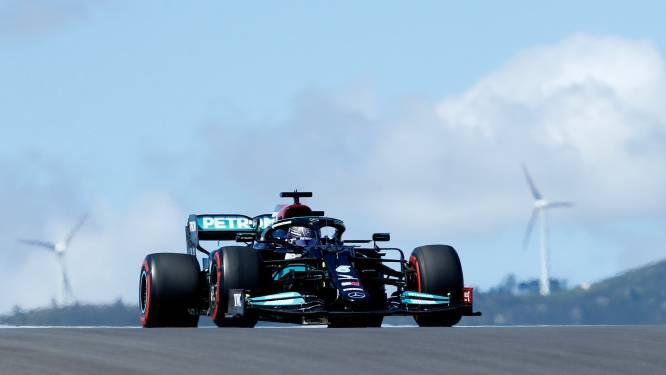 Lewis Hamilton (Mercedes) zet beste tijd neer in tweede oefenrit in Portugal