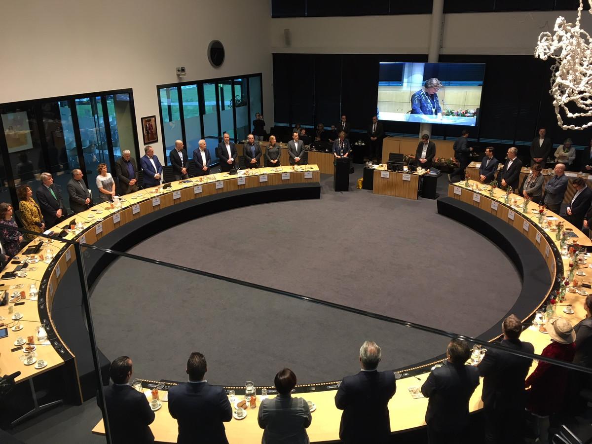 De gemeenteraad van Oss, bij de installatie in 2018.