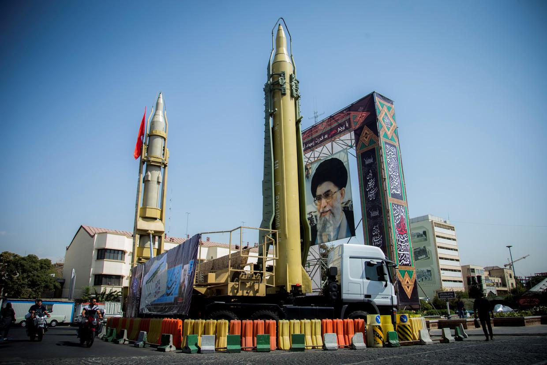 Iraanse raketten tentoongesteld (Archiefbeeld).