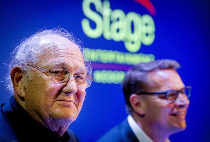 Joop van den Ende is met 40 procent van de aandelen één van de twee eigenaren van Stage. Durfinvesteerder CVC houdt 60 procent. Albert Verlinde (rechts) leidt de Nederlandse tak van het musicalbedrijf