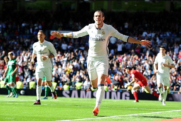 Topweek voor Bale met een nieuw contract (maandag), de snelste goal van Real Madrid ooit in de Champions League (woensdag) en nu twee goals tegen Leganés (zondag). Beeld Getty Images