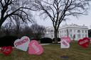 Versieringen op het gazon van het Witte Huis.
