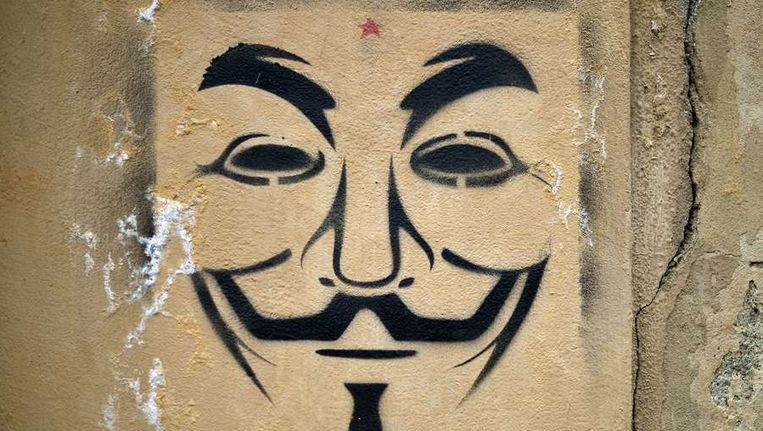 Het symbool van Anonymous. Beeld afp