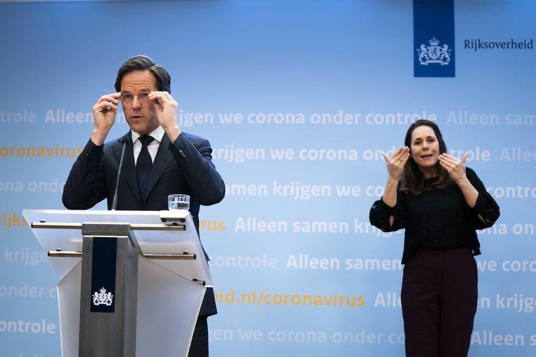 Demissionair premier Mark Rutte tijdens de persconferentie over de coronamaatregelen. Beeld ANP
