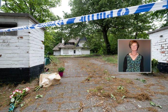 Na de gruwelijke moord op Christine Verbeiren (inzet) werd de woning verzegeld en een perimeter ingesteld.