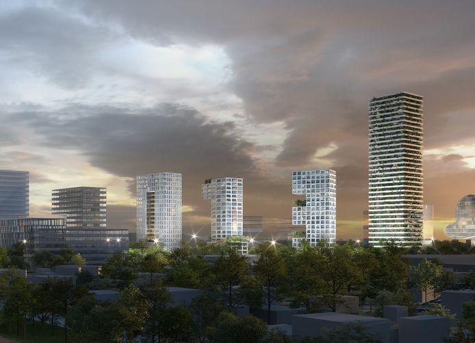De drie woontorens van architect Winy Maas, die samen het getal '013' vormen. Voor de overige gebouwen op de impressie bestaan nog geen plannen.
