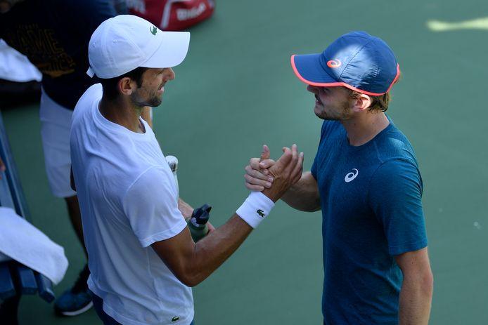 Novak Djokovic et David Goffin, ici à l'entraînement à l'US Open, ne se sont jamais affrontés sur gazon.