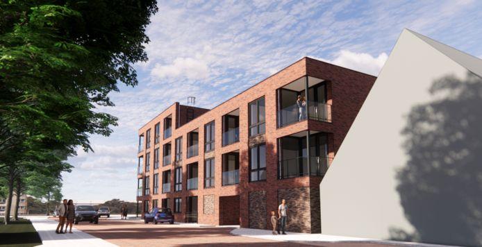 Zo moet het nieuwe appartementencomplex in Nieuwleusen gestalte krijgen.