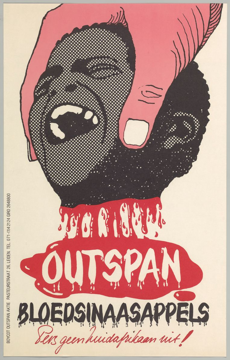 Oproep tot een boycot van Zuid-Afrikaans fruit (1975). Samen met de grote maatschappelijke protesten waren de sancties tegen Zuid-Afrika in de jaren tachtig een van de factoren die de weg richting democratie inluidden. Beeld