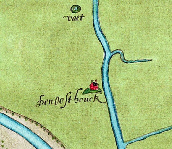 De Oosthouck op een kaart uit 1593.