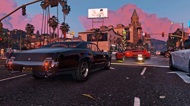 Wie met de auto door Los Santos rijdt, krijgt de soundtrack van de game te horen via verscheidene radiostations. Beeld Rockstar Games