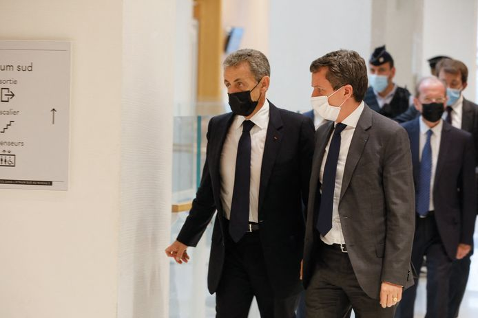 Nicolas Sarkozy arrivant au palais de justice de Paris ce mardi.