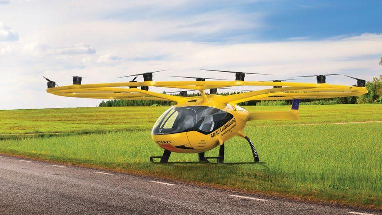 De elektrische lucht-ambulance gaat in 2023 voor de Duitse Adac Luftrettung vliegen. Beeld VoloCopter
