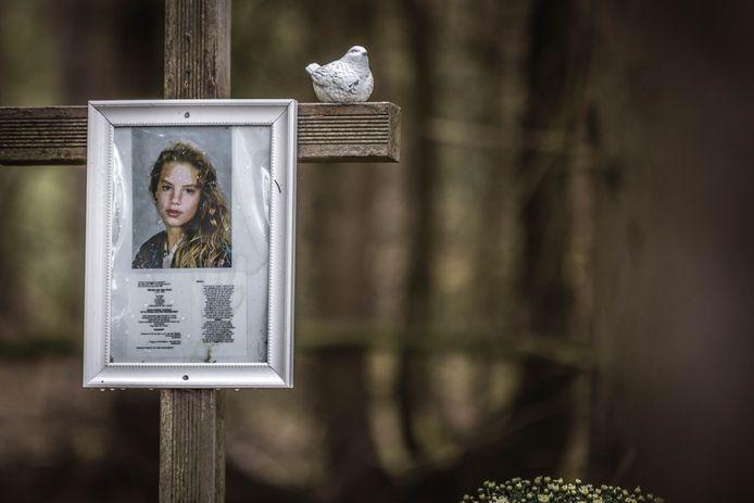 Het monument voor de vermoorde Nicole van den Hurk aan de Mierloseweg tussen Mierlo en Lierop, de plek waar haar lichaam werd gevonden in 1995.