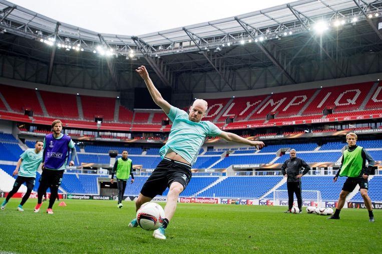 Davy Klaassen tijdens een training in het Park Olympique Lyonnais. Beeld anp