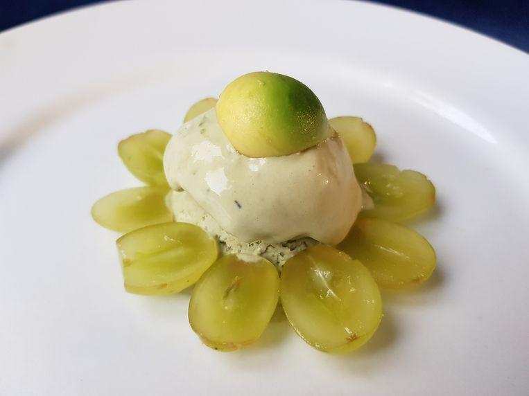 Matcha-roomijs met druiven en avocadobolletjes. Beeld Marie Louise Schipper